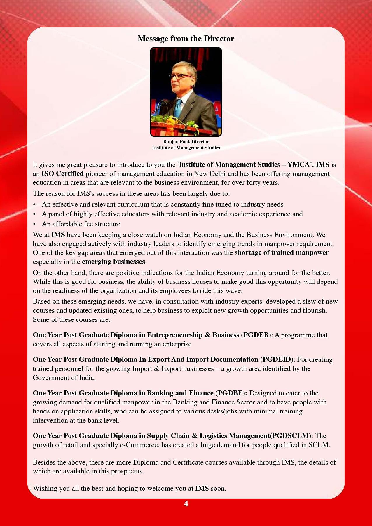 YMCA Institute of Management Studies, New Delhi - Admissions