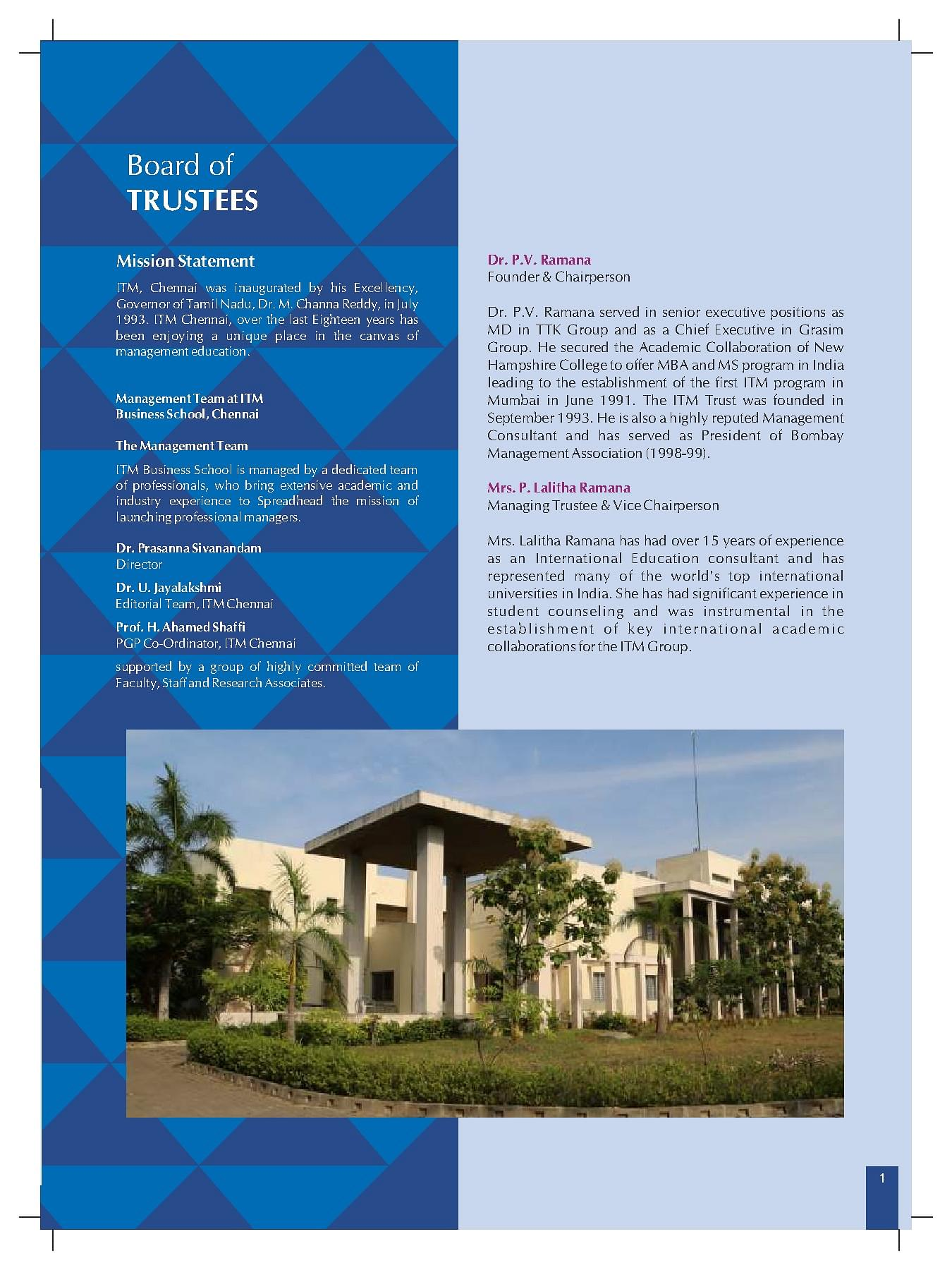 ITM Business School, Chennai - Admissions, Contact, Website