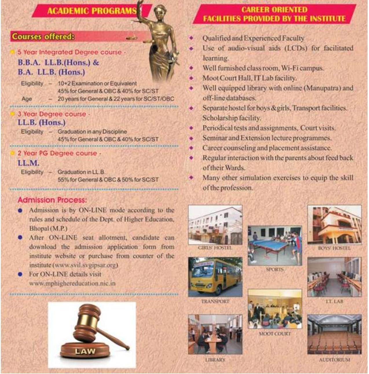 Shri Vaishnav Institute of Law - [SVIL], Indore - Admissions