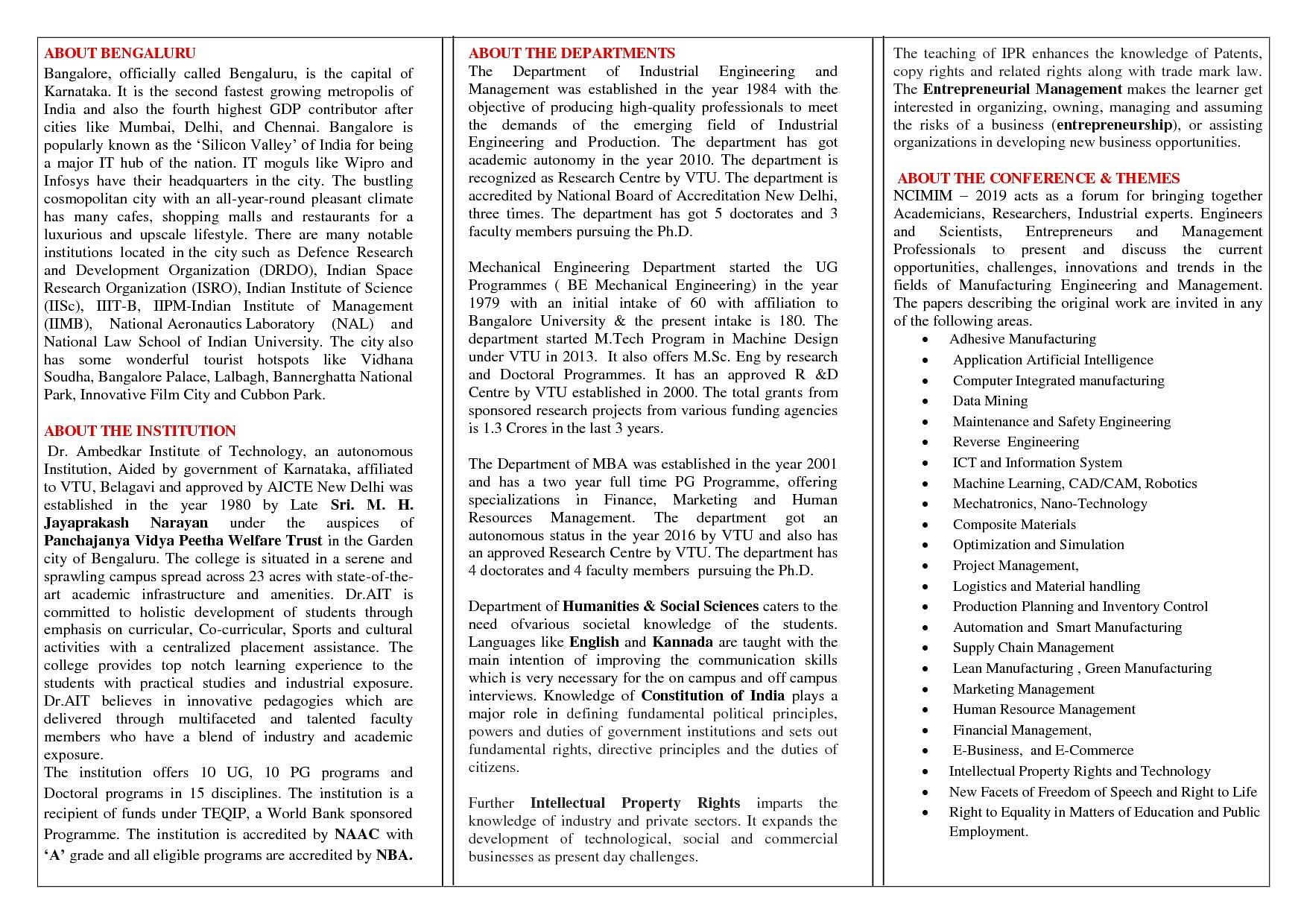 Dr Ambedkar Institute of Technology, Banaglore - Cutoff 2019