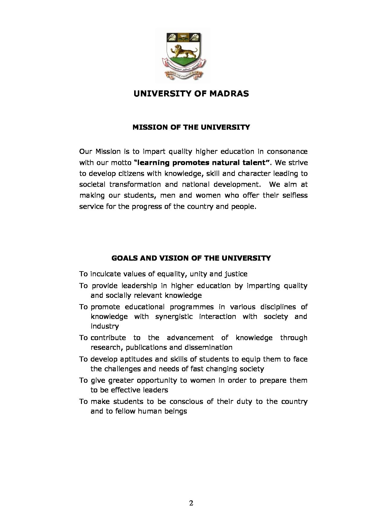 University of Madras, Chennai - Courses, Fee Structure