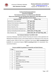 Post Graduate Admission Test (PGAT) Session