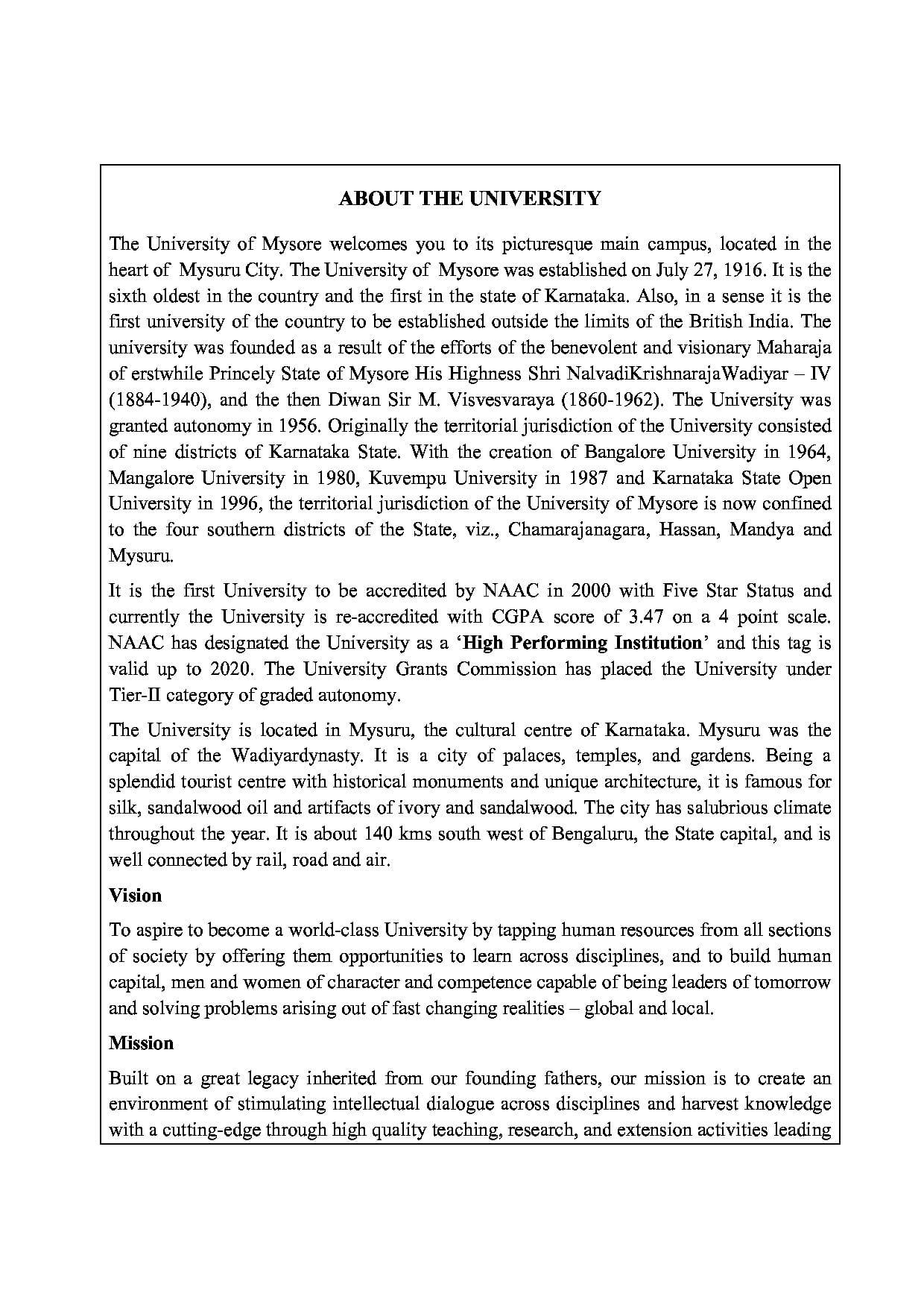 Mysore University - UOM (University of Mysore) - Admissions