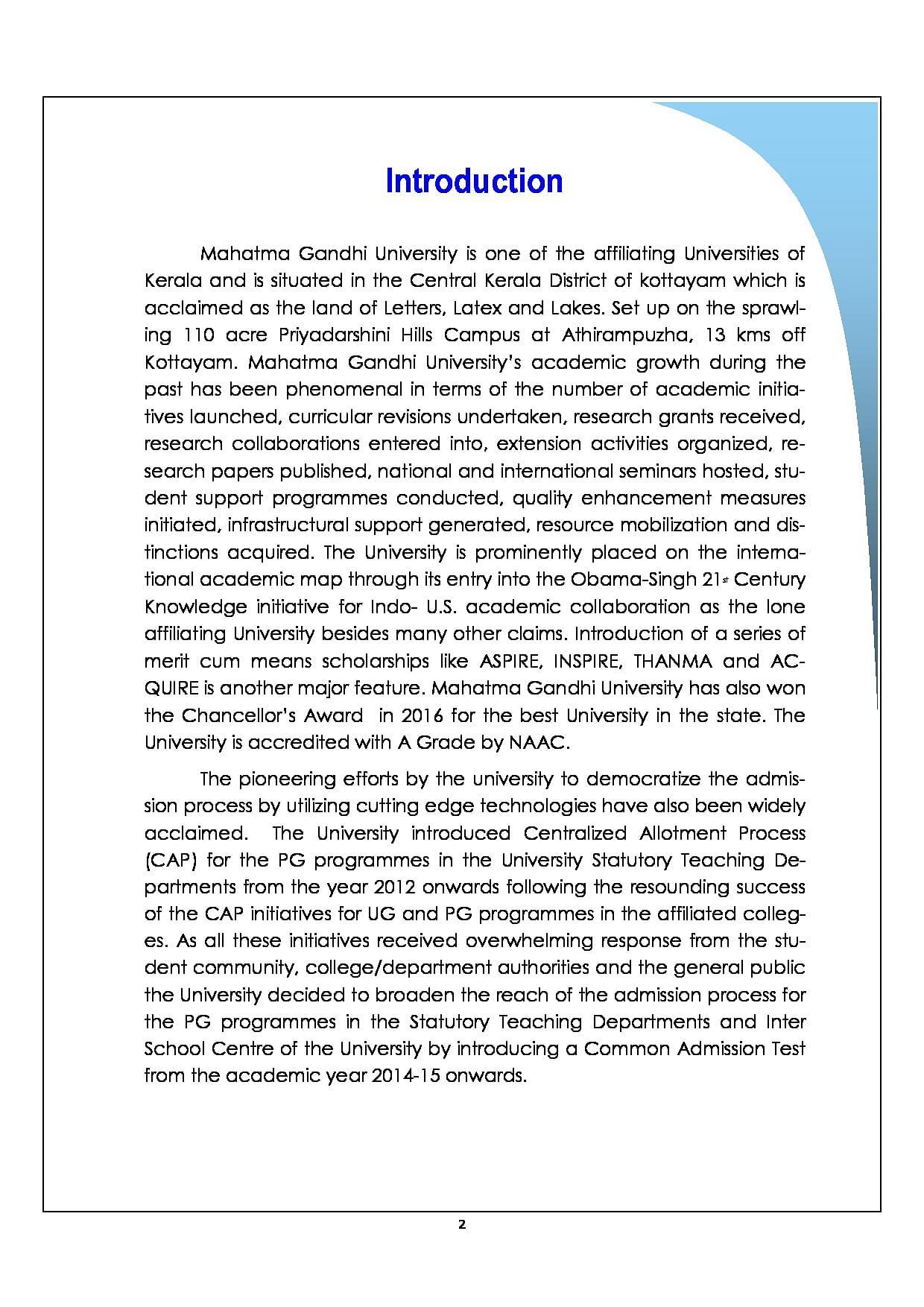 Mahatma Gandhi University - [MGU], Kottayam - Admissions