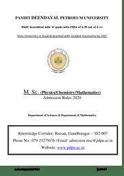 M. Sc. Admissions 2020 Rules