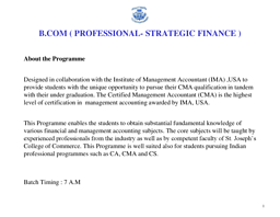 B.Com (Professional-Strategic Finance)