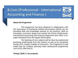 B.Com (International Accounting & Finance)