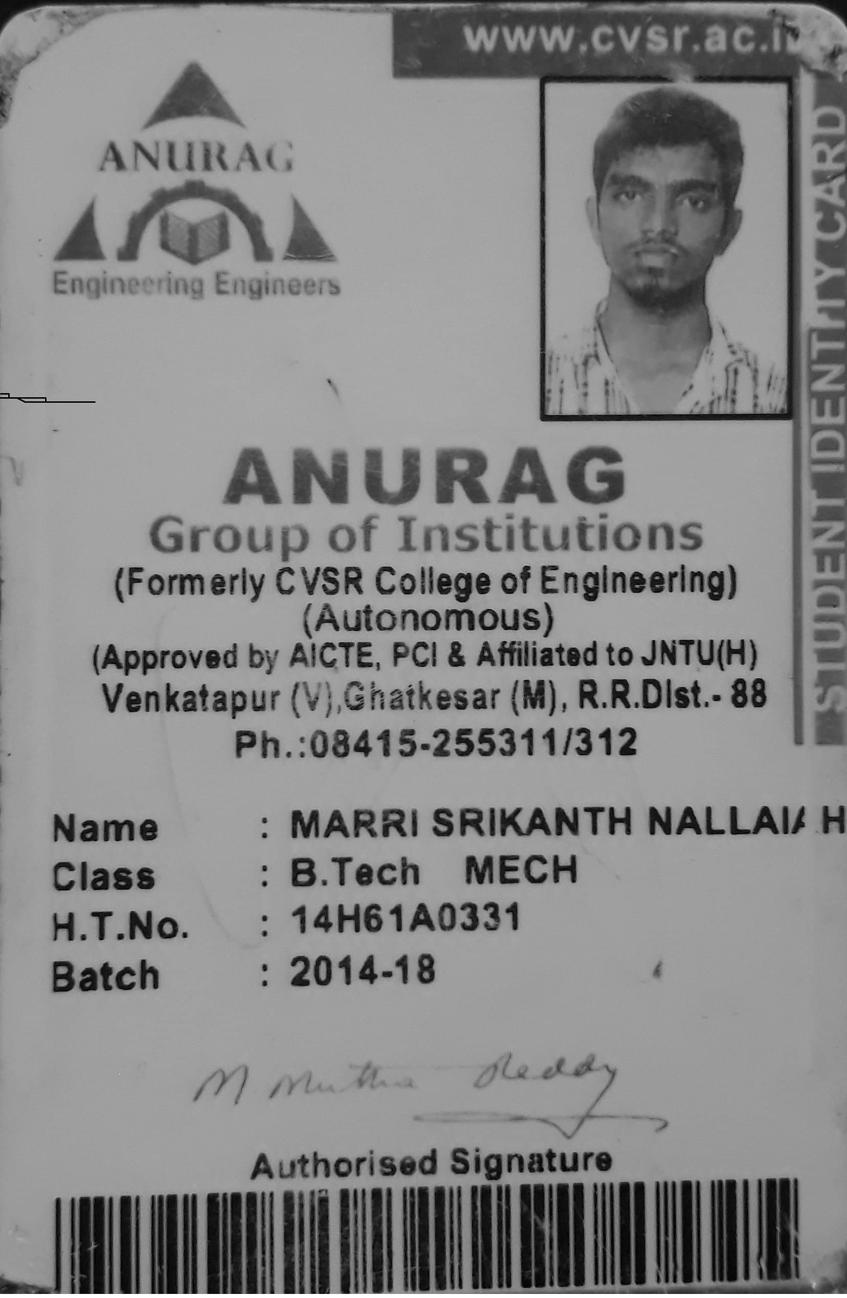 Marri Srikanth Nallaiah's Review On Anurag Group Of Institutions