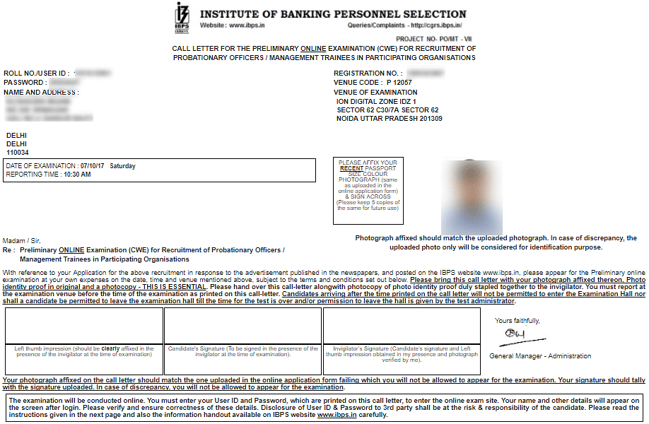 IBPS PO 2019 Prelims Admit Card