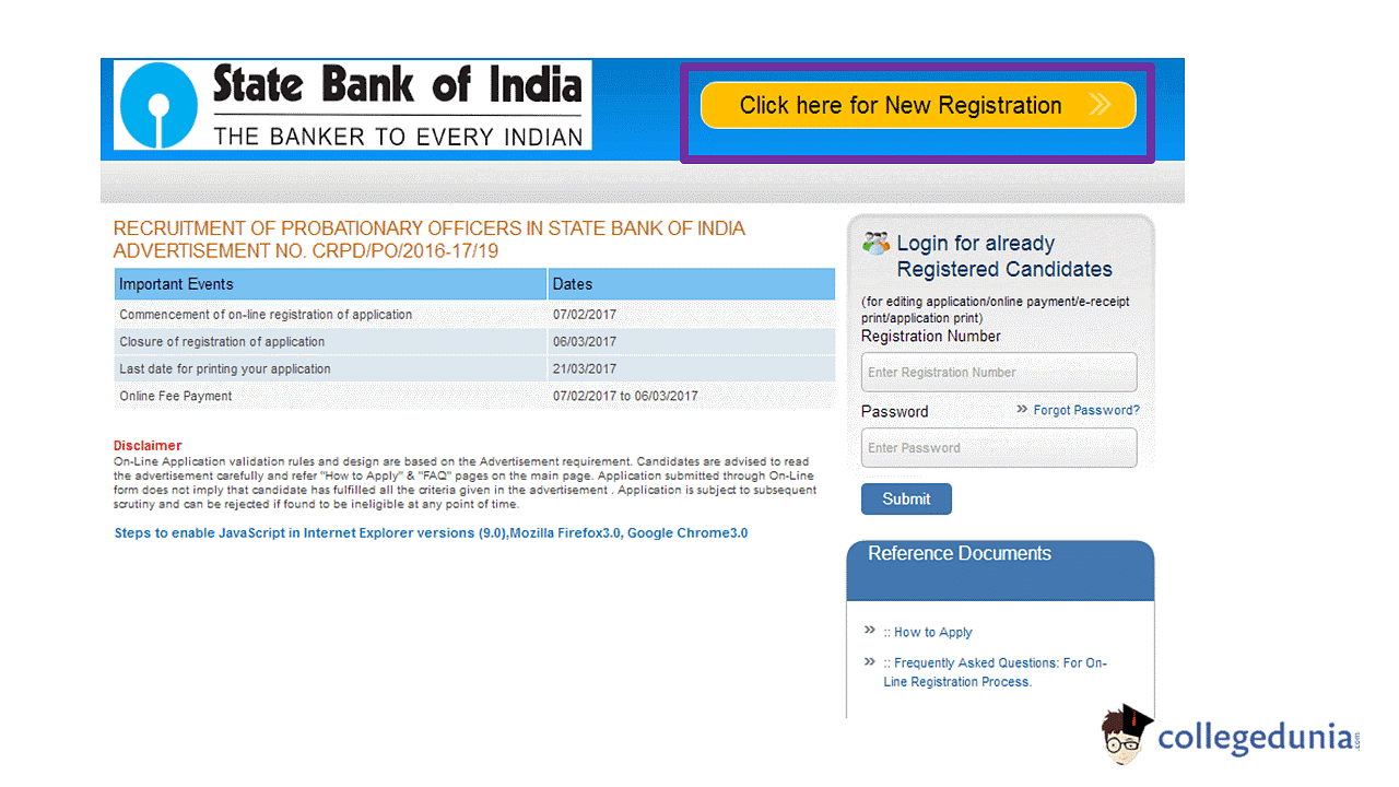 SBI PO Application Form