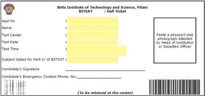 Sample of BITSAT Admit Card