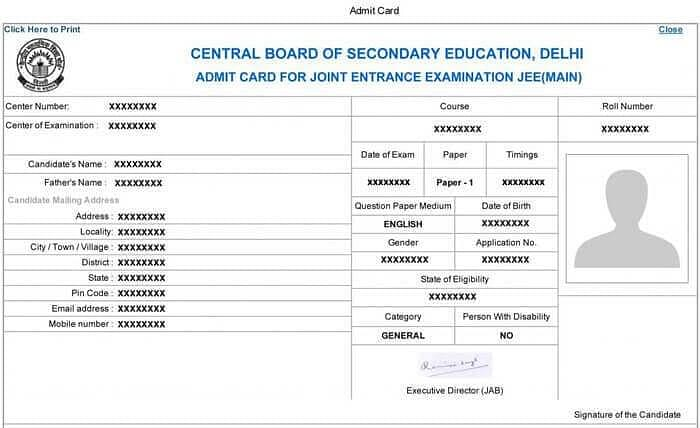 JEE Main Hall Ticket