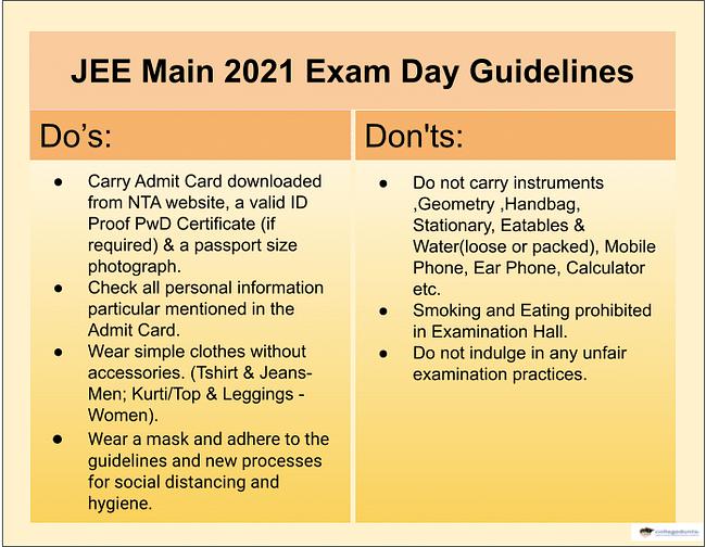 JEE Main Exam Day Instructions