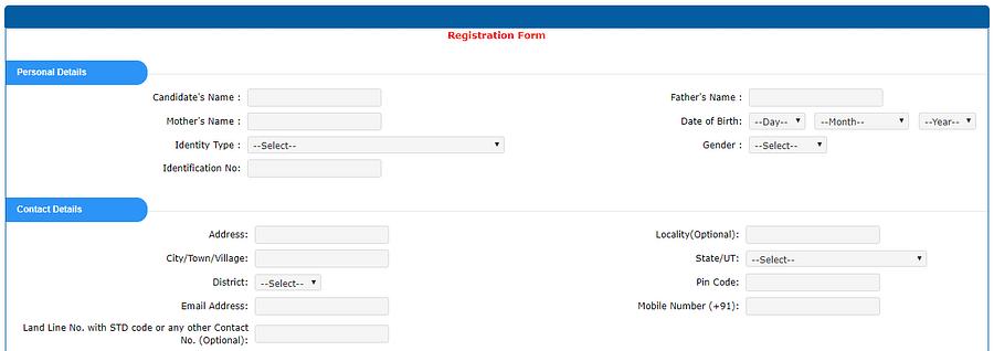 JEE Main Registration form